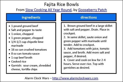 fajita rice bowl recipe card