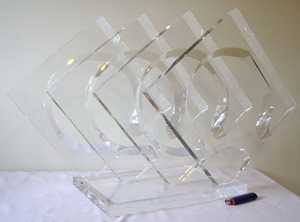 Van Teal transparent acrylic geometric squares and circles sculpture
