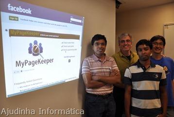 Da esquerda, Harsha Madhyastha, professor assistente de ciência da computação e engenharia; Michalis Faloutsos, professor de ciência da computação e engenharia, e Md Sazzadur Rahman e Ting-Kai Huang, tanto Ph.D. estudantes em ciência da comp