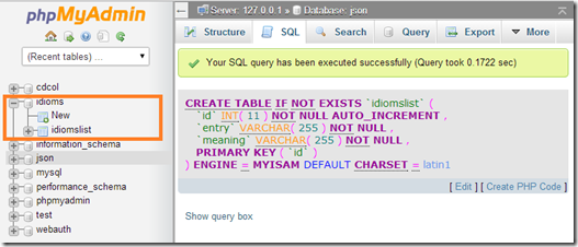 sql create table -success