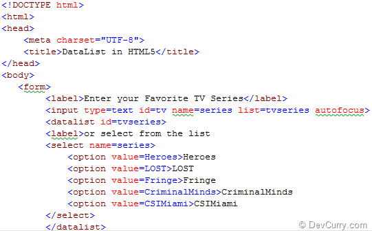 HTML 5 DataList