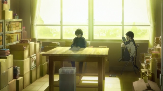 Inoue sits in the club room writing as Touko reads in a chair by the window, the room bathed in a strong afternoon golden glow