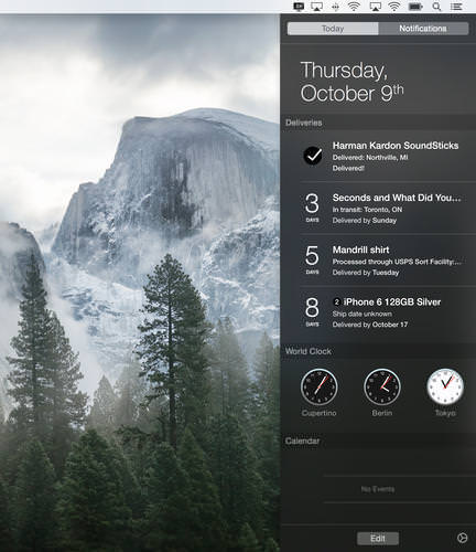 Mac notification center widget