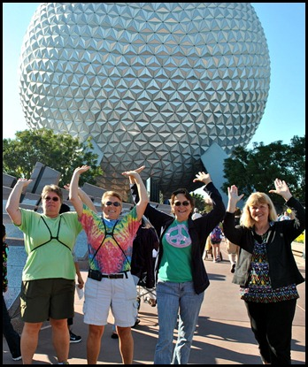 03 - Gin, Syl, Tricia, Laura holding up Epcot Ball