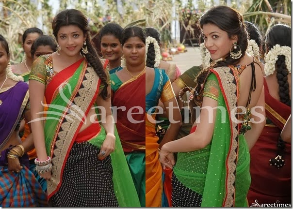 Kajal_Green_Black_Half_and_Half_Saree