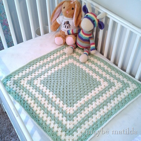 Green and cream granny square blanket