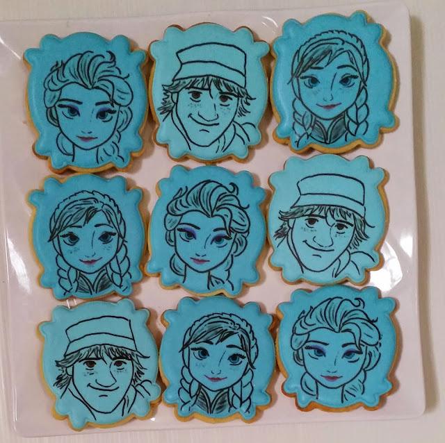 anna, elsa & kristoff hand drawn cookies