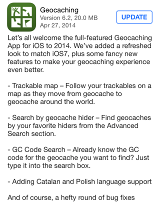 Geocaching v 6.2 for iOS
