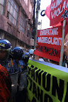 Protesters assert their right to hold protest action in Mendiola. (Photo by Pom Cahilog-Villanueva)