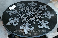 "D24"" x 5/8"" Fleur de Lis Laser-Etched Black Table Top / Floor Medallion."