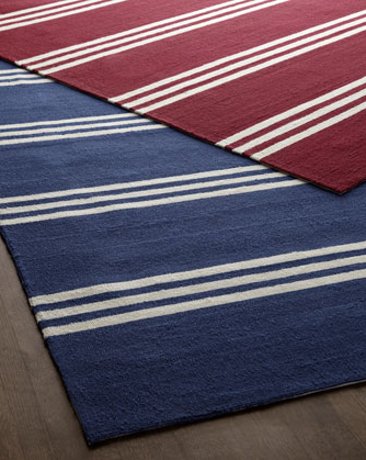 Rugs are a subtle, practical way to add stripes to your home. (horchow.com)
