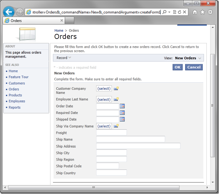 New record form opened using URL parameters.