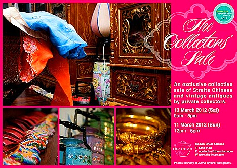 PERANAKAN ANTIQUES THE INTAN SALE porcelain nyonyaware, hand embroidered tapestries, beaded shoes batiks, rose cut intan diamond