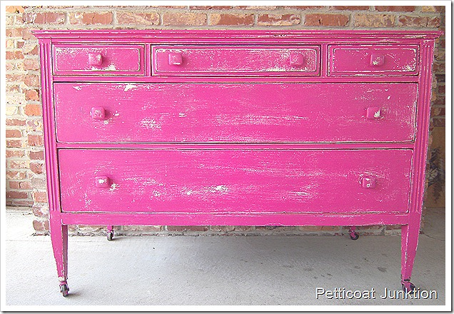 fuchsia color painted furniture makeover