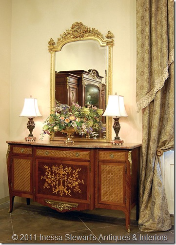 Antique Marquetry Marble Top Foyer Buffet
