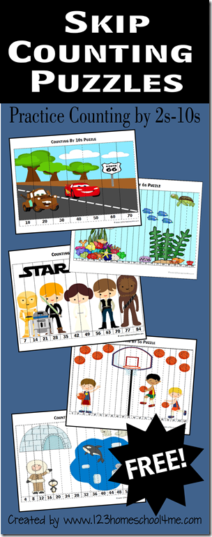 Skip Counting Puzzles are a way cool math games for Kindergarten - 3rd grade #mathgames #homeschooling #kindergarten