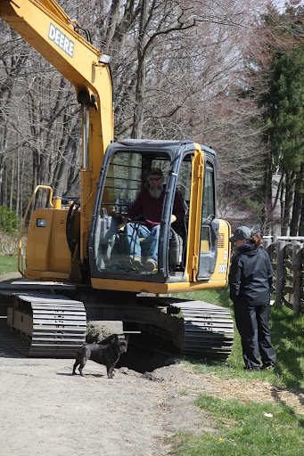 Hi Betsy!  What's going on?  We don't often see excavators on the farm!