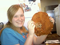 Katie with huge pancake 6.4.11
