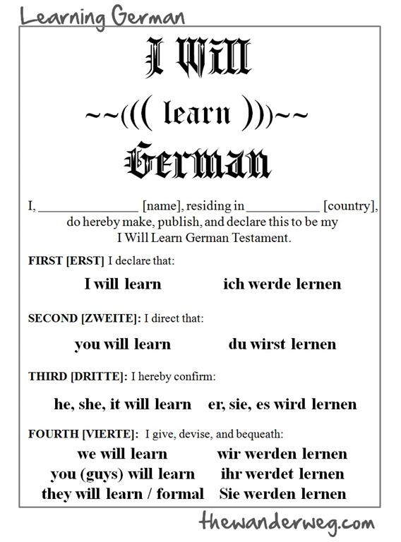 I will learn german the wander weg