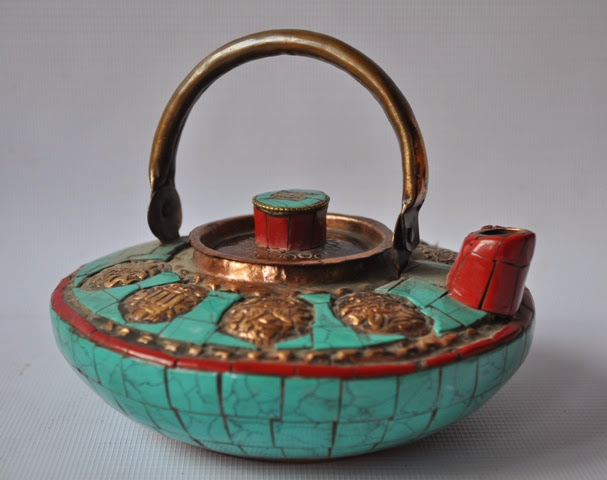 Copper Tea pot with Tuquise