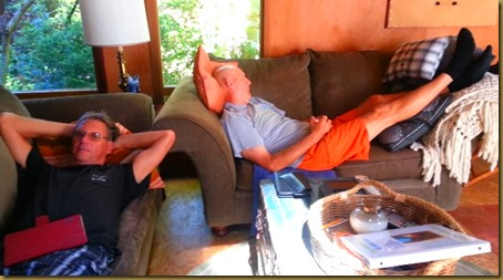 vic and bruce on couches at cabin