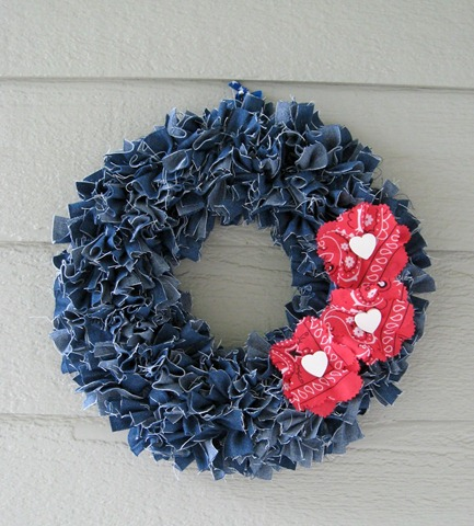 50 denim rag wreath