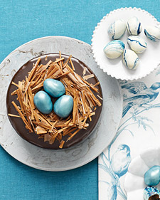 Rich Chocolate Cake With Ganache Frostings And Truffle Egg Nest