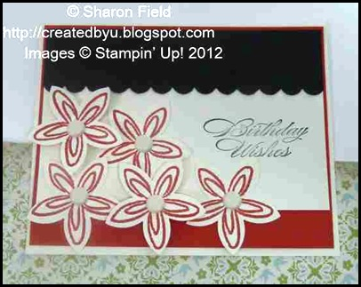 retired stamp set and 5 petal flower birthday card.