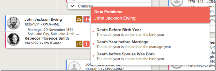 FamilySearch detects a number of pedigree analysis errors.