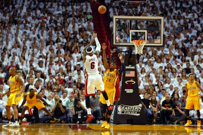 lebron james nba 140524 mia vs ind 26 game 3 LeBron, D Wade and Ray Allen Lead Miamis Comeback in Game 3