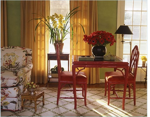 red chinese chippendale furniture in eclectic sunroom