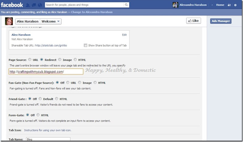 13 Custom FB app tabs blog tab redirect