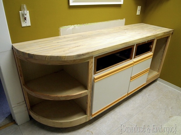 Extending the Vanity and Building a Butcher Block Counter {Sawdust and Embryos}