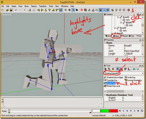 Select a bone and Rotate Key in Skeletal Animation tools