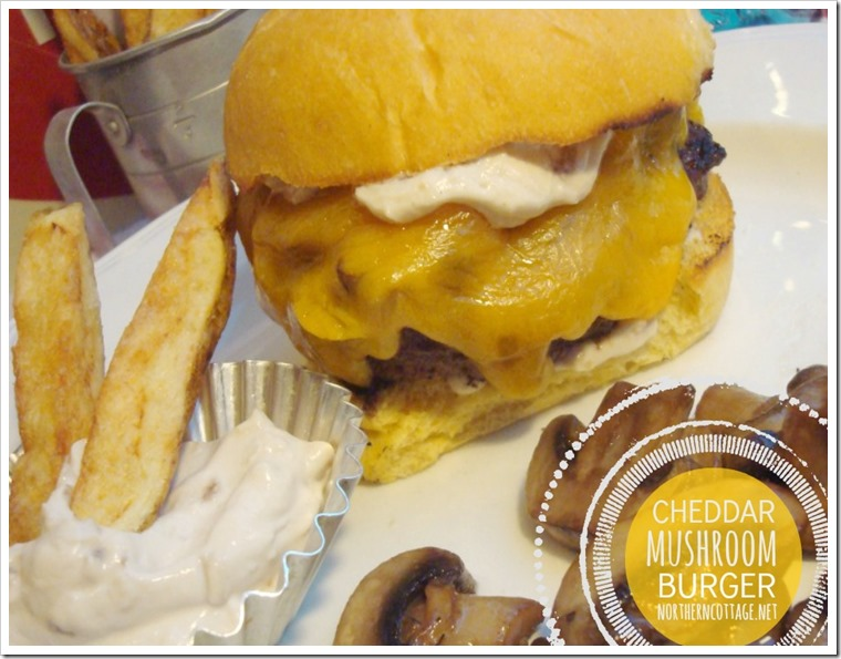 {NorthernCottage} sweet onion and garlic aioli on cheddar mushroom burgers!