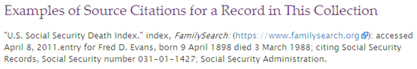 FamilySearch SSDI citations