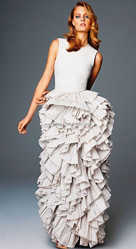 H&M CONSCIOUS EXCLUSIVE GLAMOUR COLLECTION SPRING 2012 ULTIMATE RED CARPET GOWN organza crease plissé meringue skirt silk boule