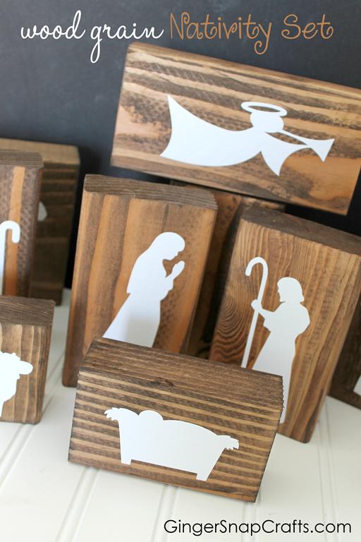 Wood Grain Nativity Set at GingerSnapCrafts.com