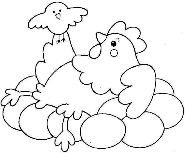 Dibujos de gallos y gallinas para colorear - Manualidades Infantiles