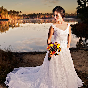 by Cody Miller - Wedding Bride ( clouds, water, beautiful, romantic, lake, romance, love, bridal, dawn, fog, wedding, mother's gown, bride, generation )