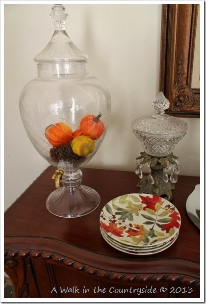buffet decorated for Fall