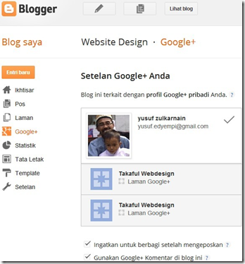 menu Google plus Dashboard blogger