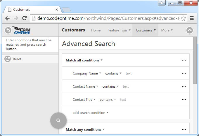 If a user clicks on the button on the right side of the Quick Find search box on the toolbar than advanced search screen slides down from the top of the browser window.