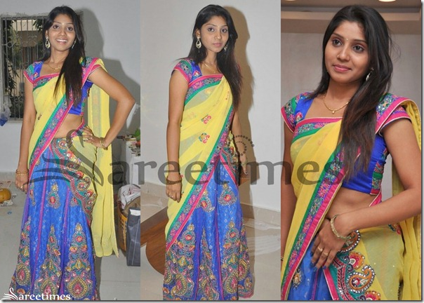 Neelima_Yellow_Blue_Half_Saree