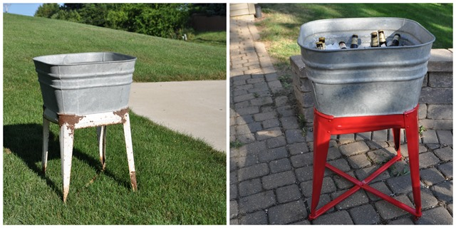 Vintage Wash Tub Beverage Cooler Before and After