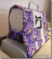 Sewing machine cover tied