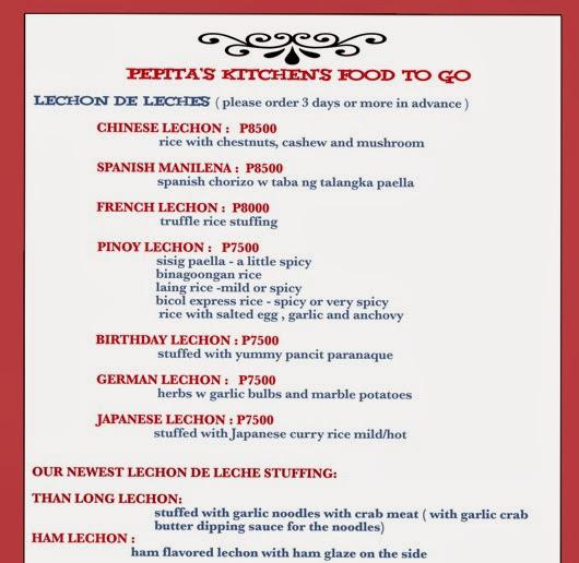 PEPITAS TO GO menu october 2013