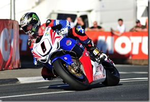John McGuinness on his TT Legends Honda superbike at Quarterbridge during final qualifying for the 2011 Isle of Man TT