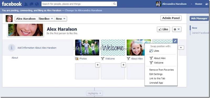14 Custom FB app tabs switch tab positions