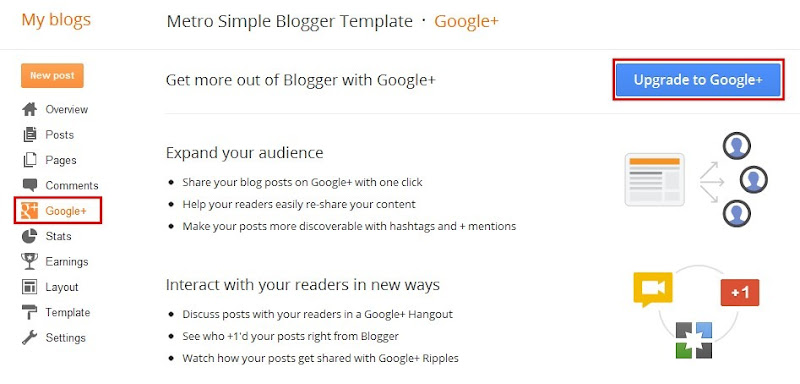 Google+ c tch hp su vo Blogger&#8211;Blogspot